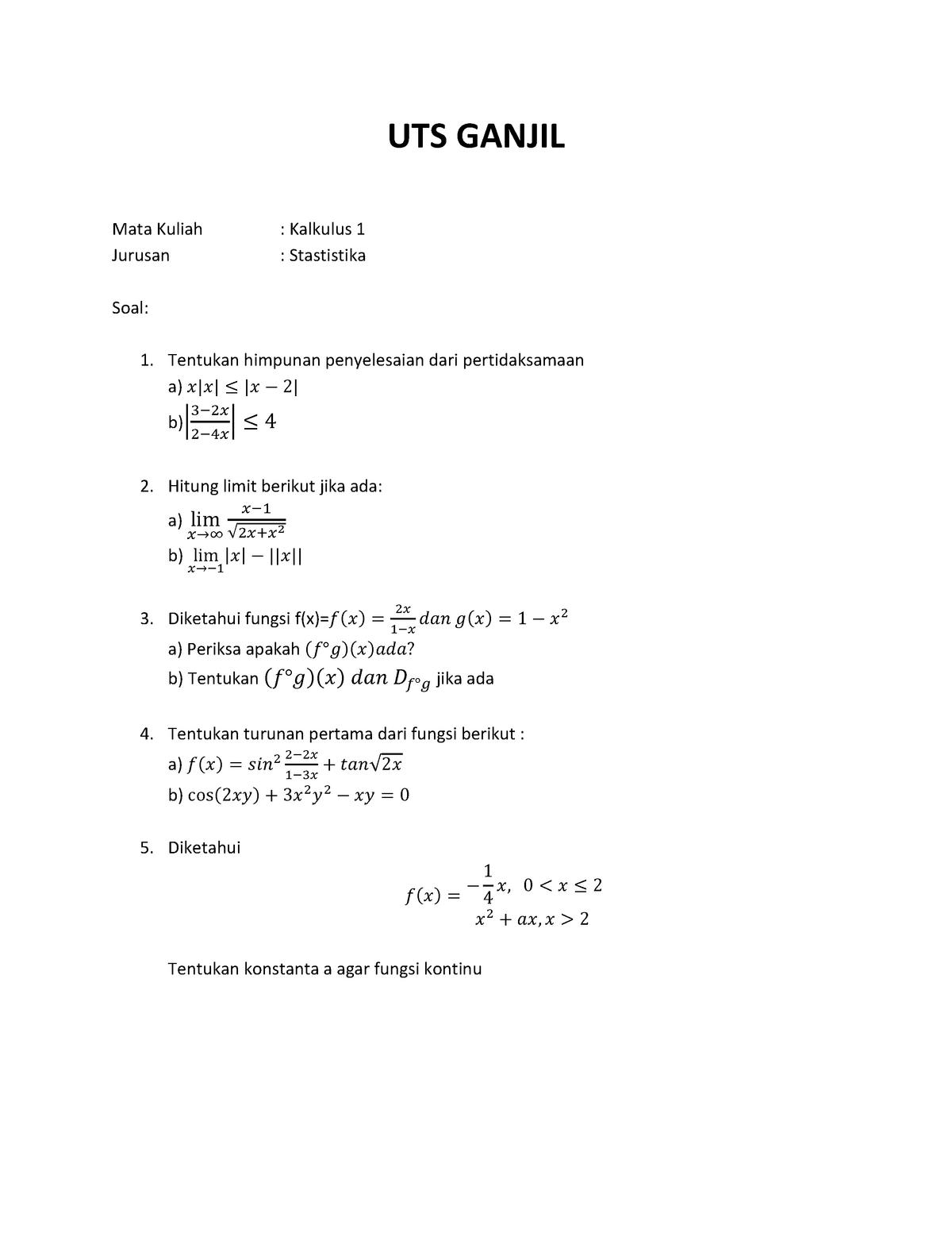 Uts Ganjil Kalkulus 1 D10a 1201 Studocu