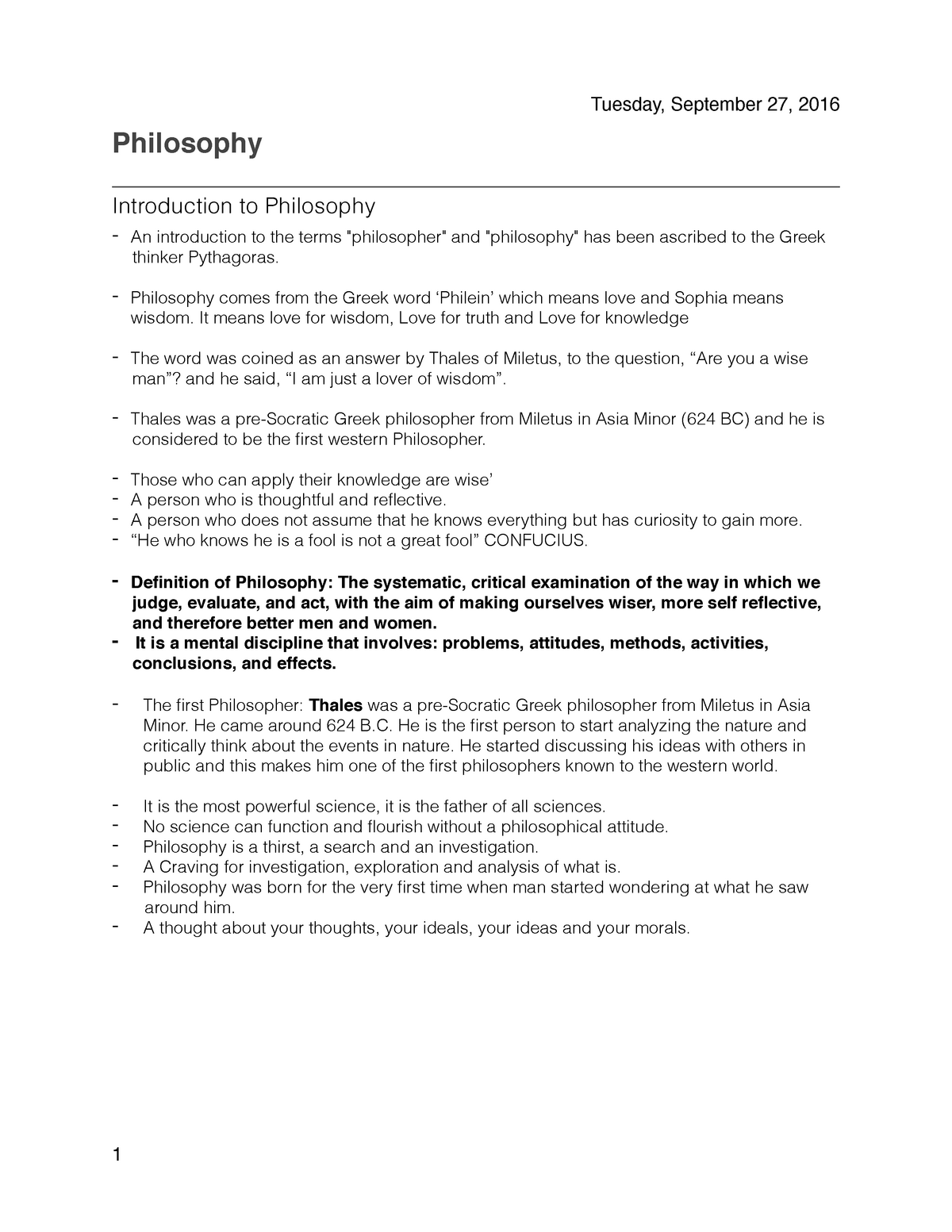 Philosophy Notes - PHIL 4: Introduction to Philosophy - StuDocu
