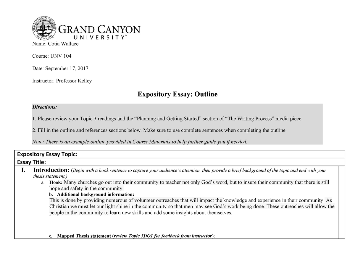 expository essay outline   unv  university success   studocu