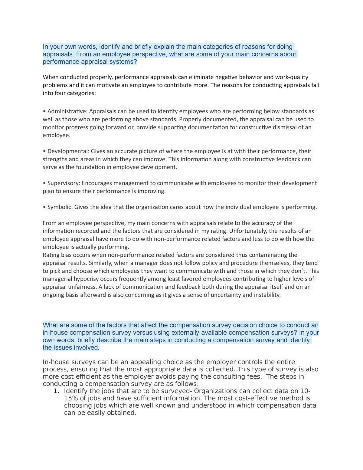 HRMT 326 ASS 3 - Assignment 3 - Hrmt 326: Wages and Benefits - StuDocu