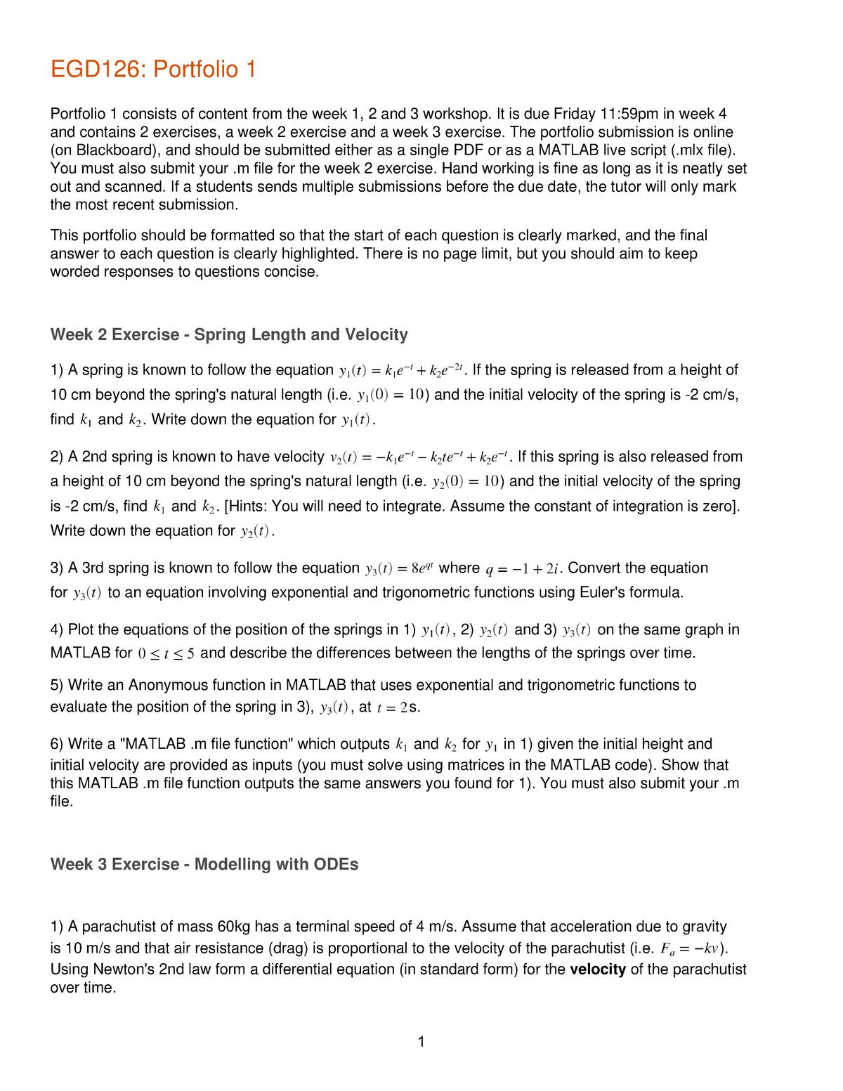 EGD126 Portfolio 1 - good exam for EGD 126 - BSD119: Global