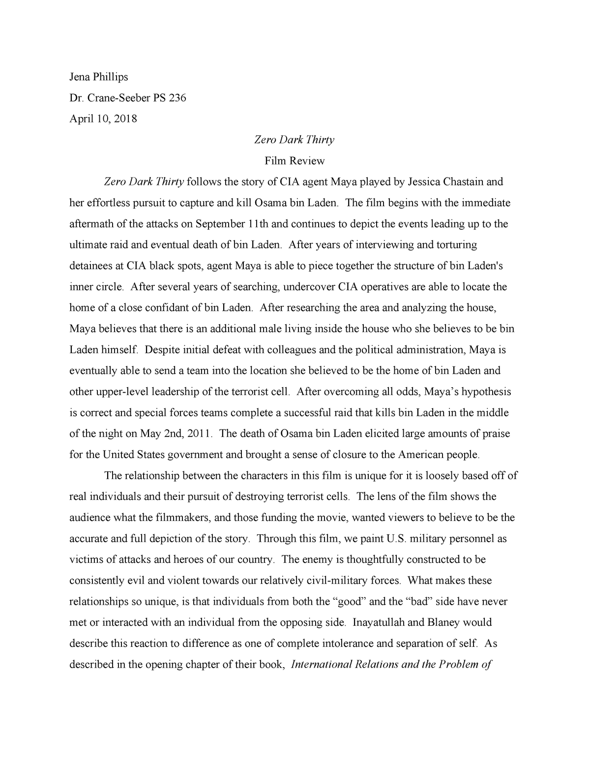 """Zero Dark Thirty"""" summary and analysis paper - PS 236 - StuDocu"""