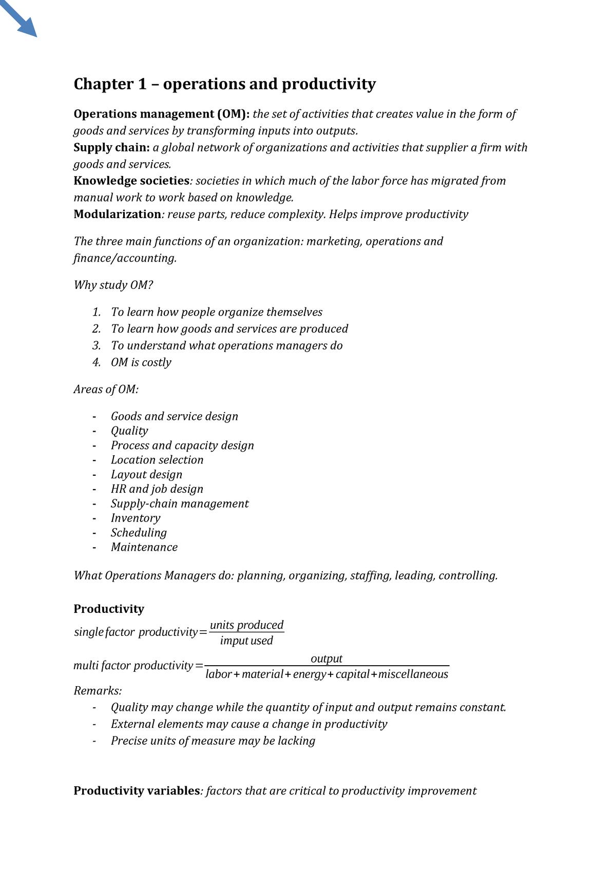 OMSummary - Samenvatting Operations Management - BAP057