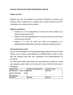 Plan De Motivacion Grupo Empresarial Malibu 1 Me0106 Studocu