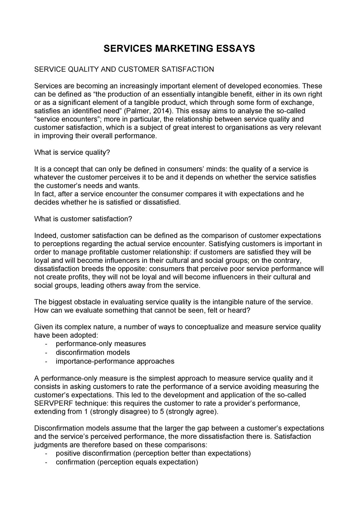 services marketing essays   marketing   studocu