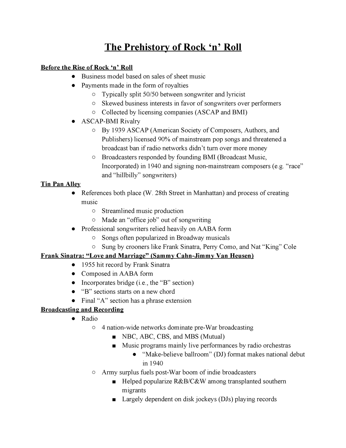 Rock Notes - Every lecture note for the entire course - MUS