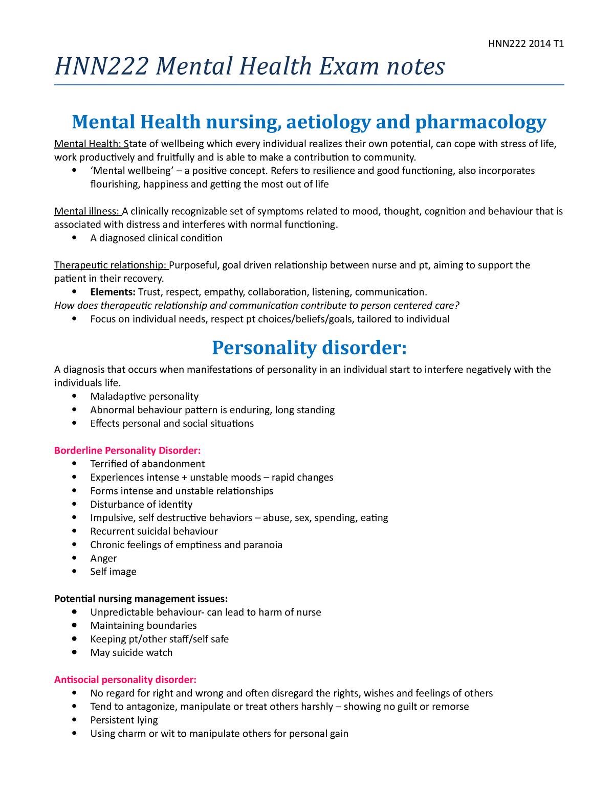 Summary - complete - Mental health nursing - HNN222 - StuDocu