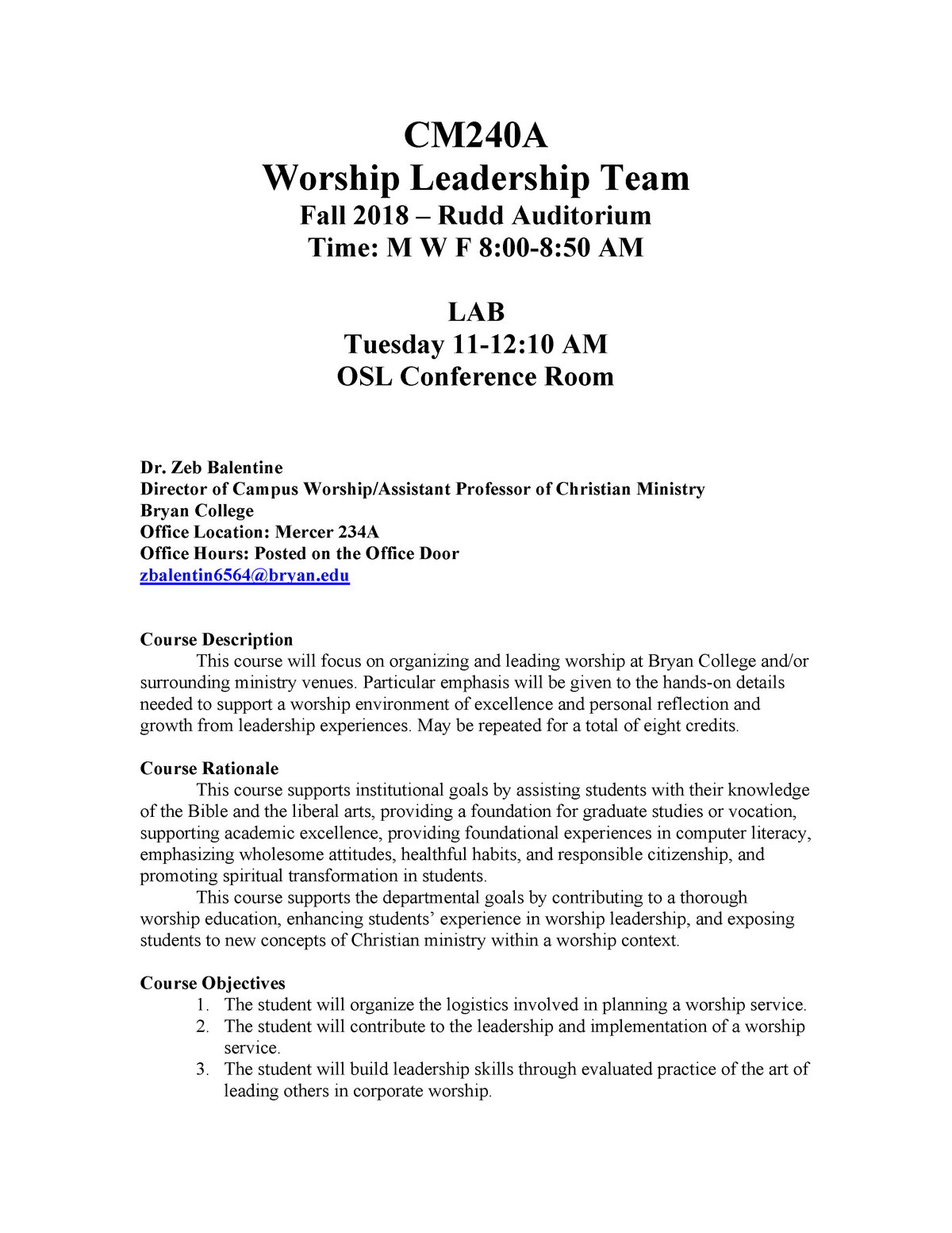 CM240A Syllabus - CM 240: Worship Leadership Team - StuDocu