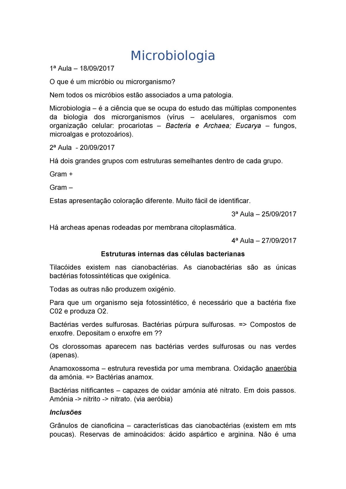 Microbiologia Resumos Do Semestre Inteiro Icbas Ma225