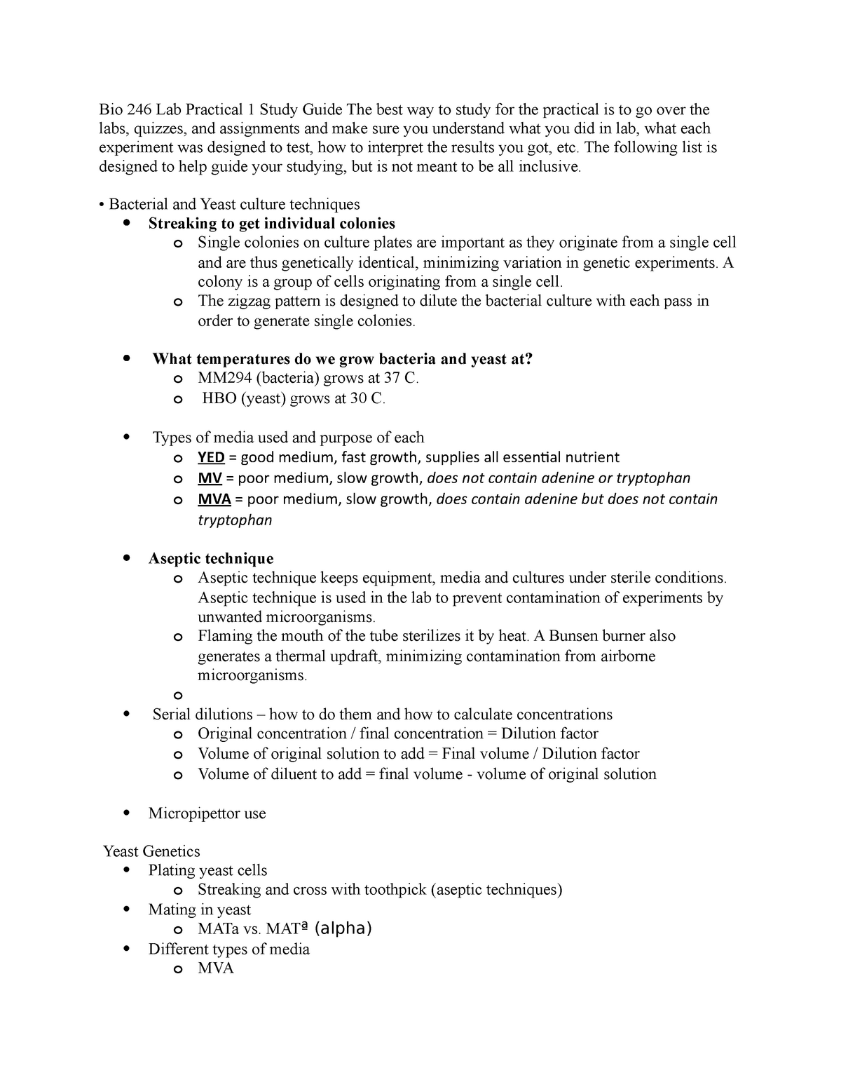 Lab practical 1 study guide - BIOL-L 311 Genetics - StuDocu