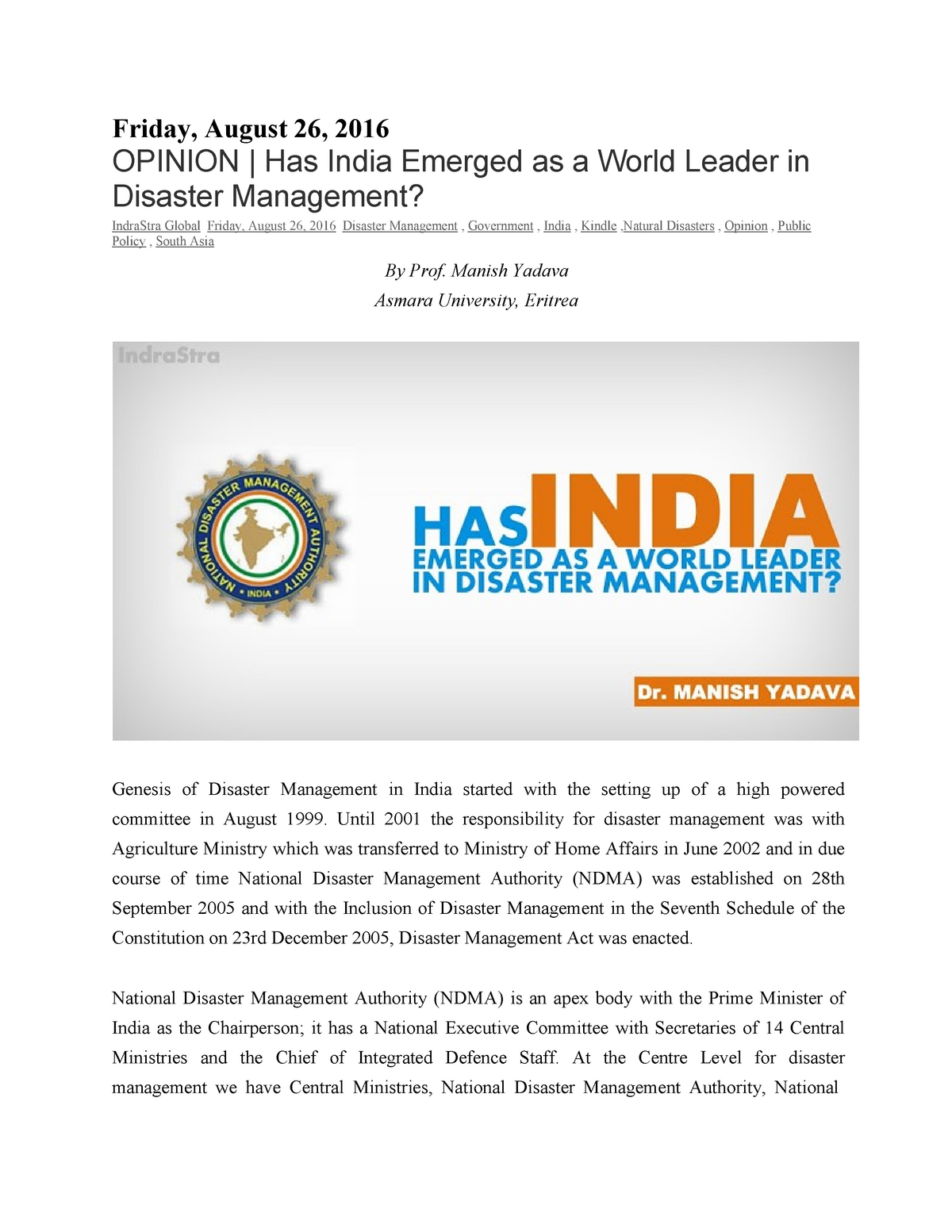 SSRN-id2830775-Dr M K Yadav-India-Disaster Management - StuDocu