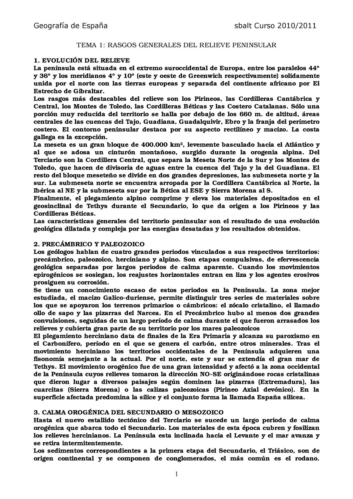 Resumen Geografía De España Geografia D Espanya 362306