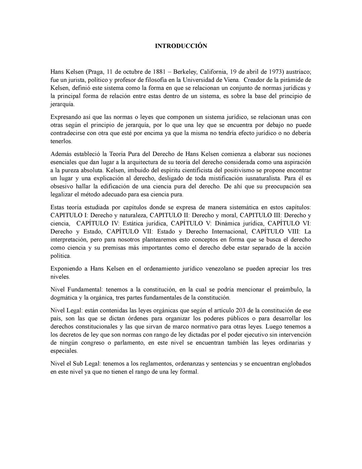 Piramide De Kelsen En El Ordenamiento Juridico De Vnzla Y
