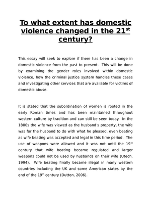 Examples Of A Thesis Statement For A Narrative Essay To What Extent Has Domestic Violence Decreased In The St Century   Mhc Understanding Violence  Studocu Synthesis Essay Introduction Example also Jane Eyre Essay Thesis To What Extent Has Domestic Violence Decreased In The St Century  Science And Religion Essay