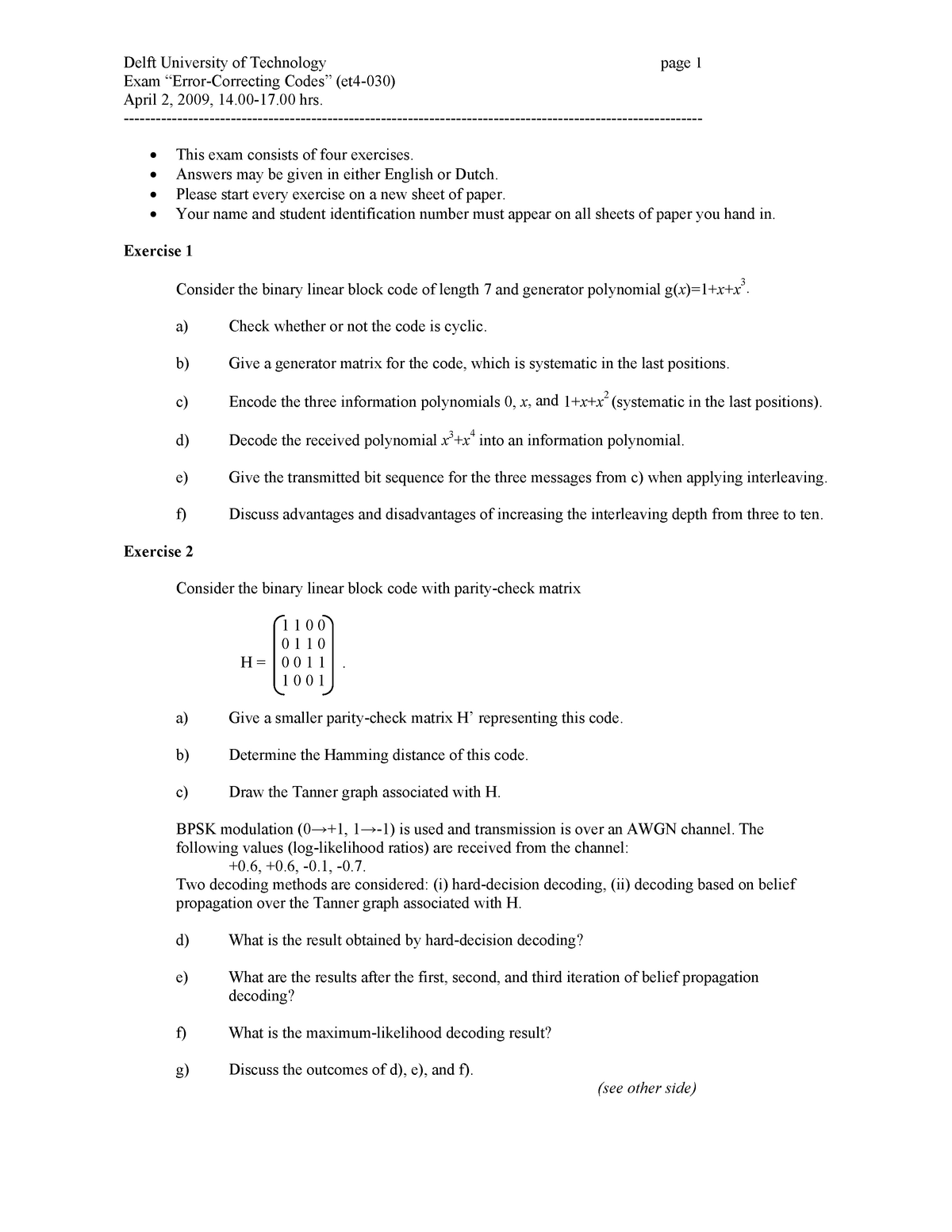 Tenta 2009 - ET4030 :Error Correcting Codes - StuDocu