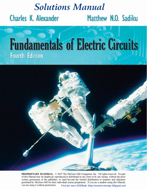 solutions manual of fundamentals of electric circuits 4ed by