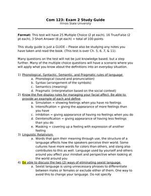 Exam 2015 - COM 123: Interpersonal Communication - StuDocu