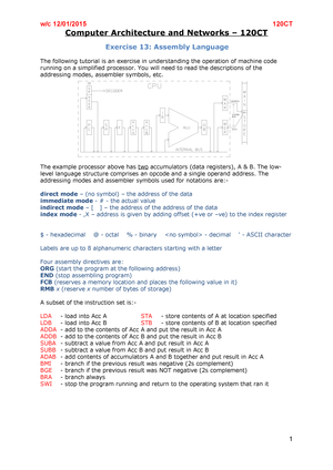 Exercise 13 Assembly Language - 120CT: Computer Architecture