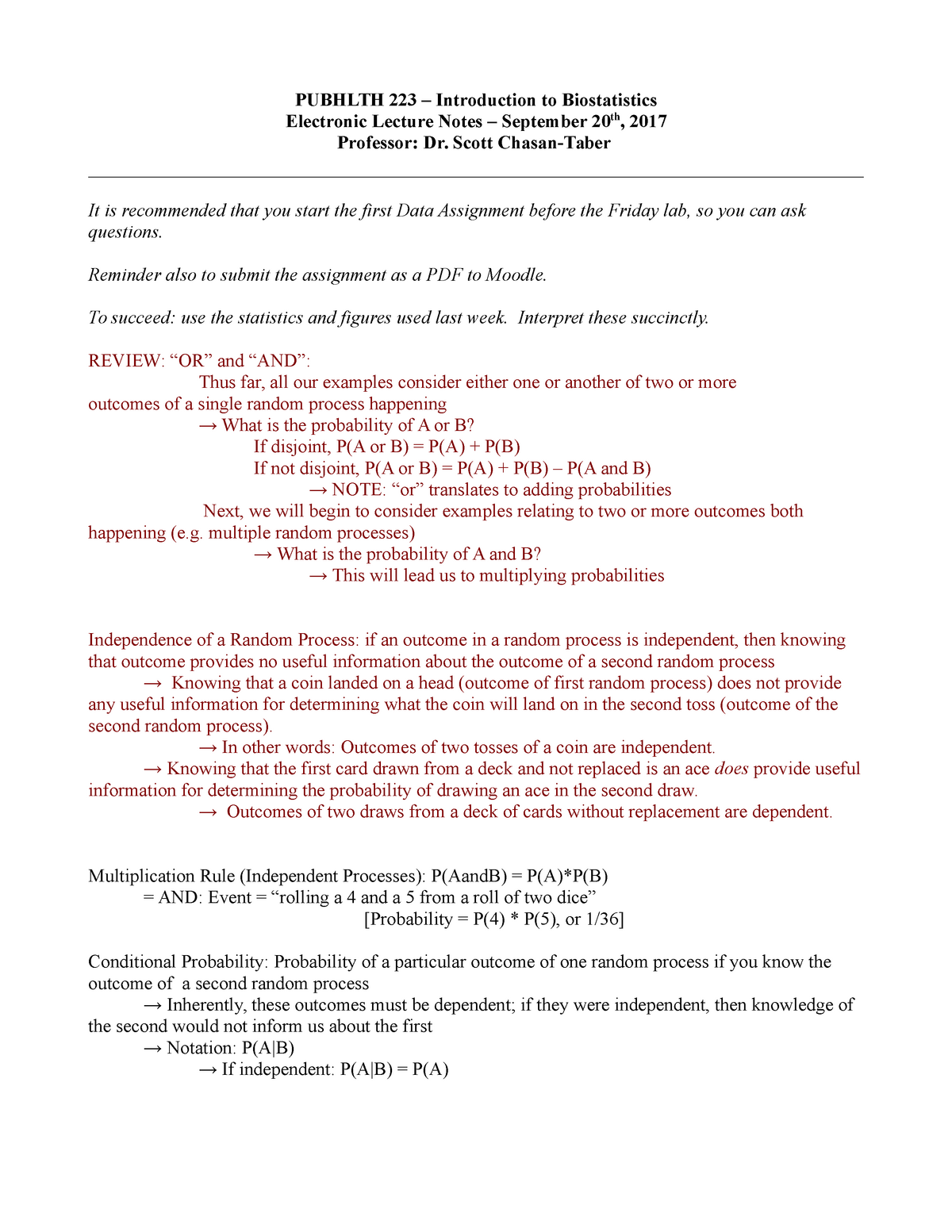 Pubhlth 223 Elec Lec Notes 0920 - PUBHLTH223: Introduction to