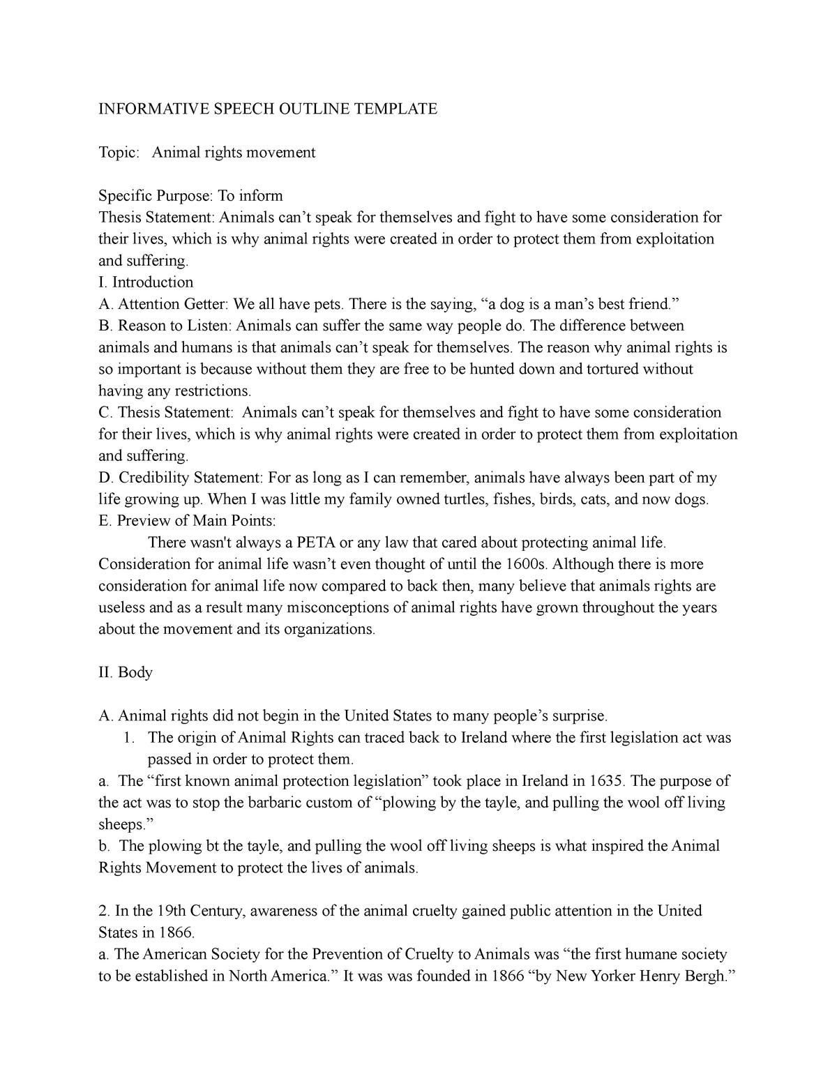 Informative Speech Outline Example - EN 208: Women In Literature