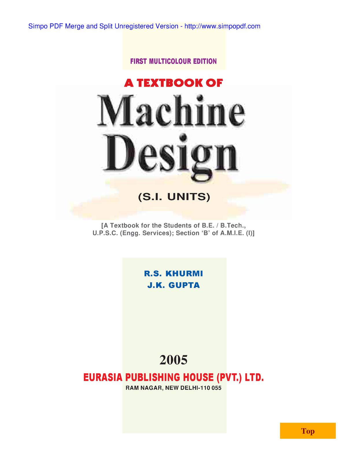 A textbook of machine design khurmi gupta - bdd: Mechanical