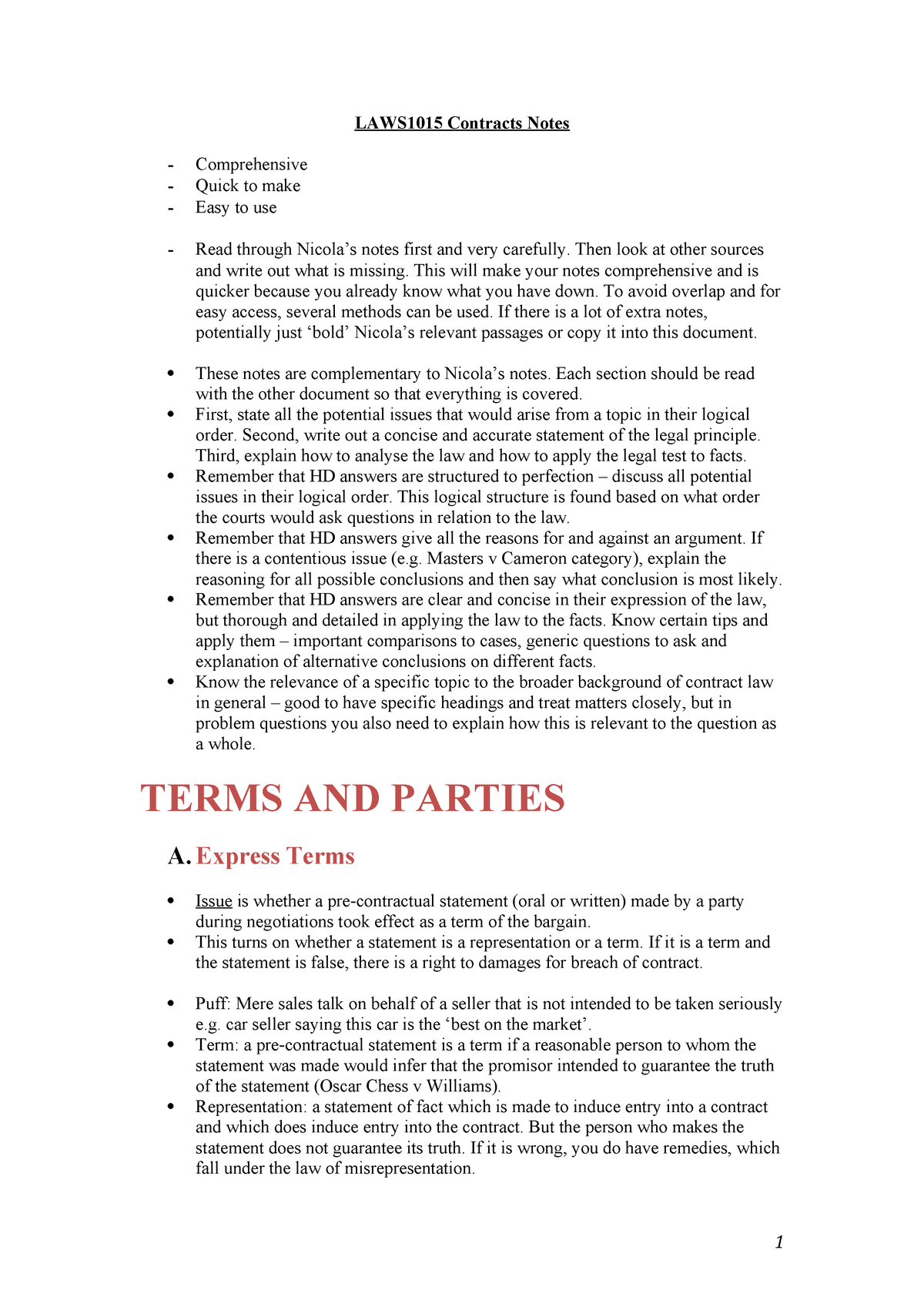 Contracts Notes - LAWS1015 - StuDocu