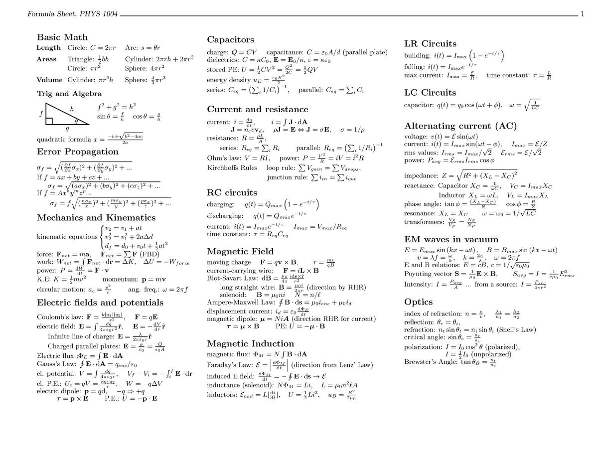 Physics Formula sheet - Phys 1004 - Carleton - StuDocu