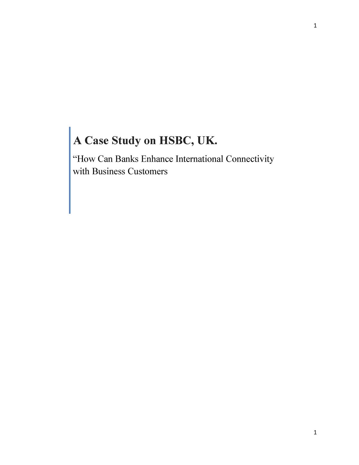 LOLA research proposal on HSBC, UK - BUSN11094: Research