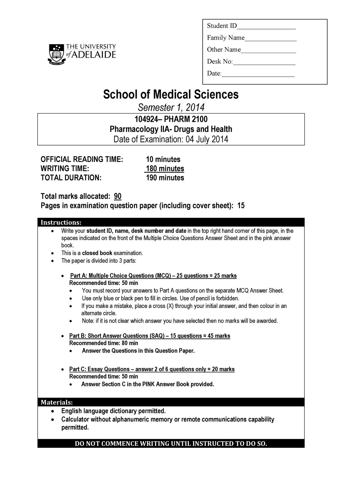 Exam 4 July 2014, Questions - PHARM 2100 - Adelaide - StuDocu