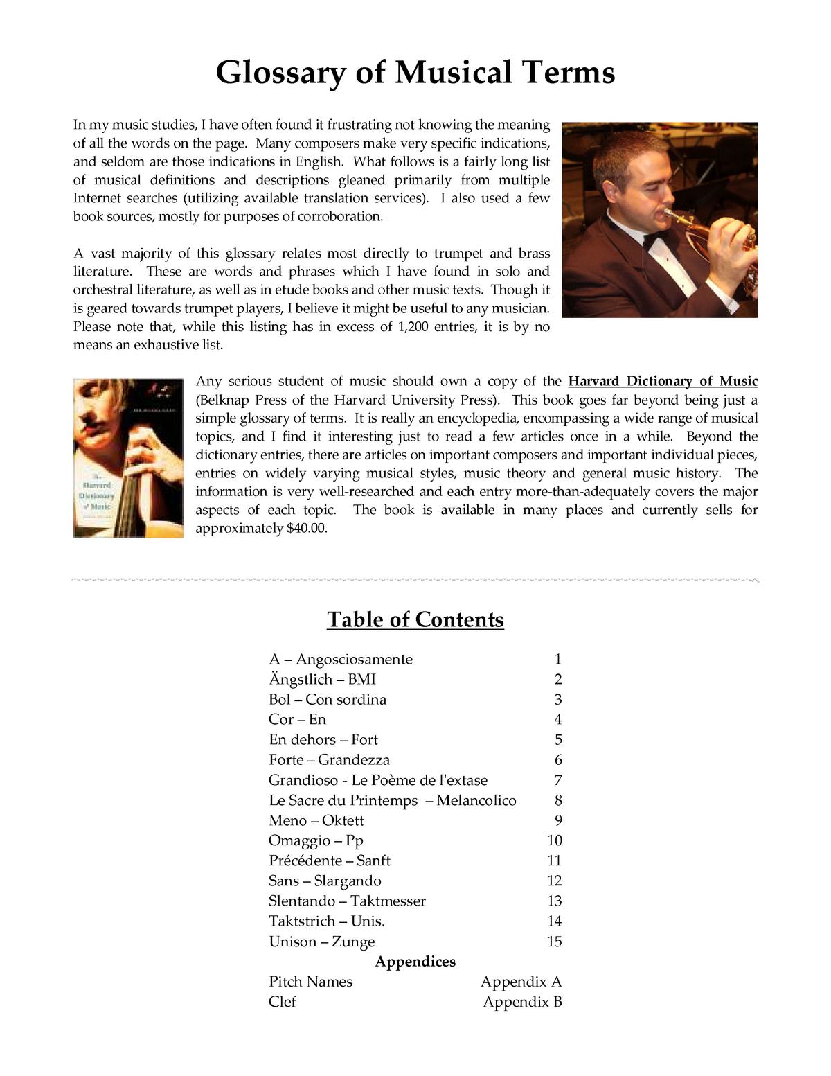 Glossary of Musical Terms - ENGL 1100 : Basic Writing - StuDocu