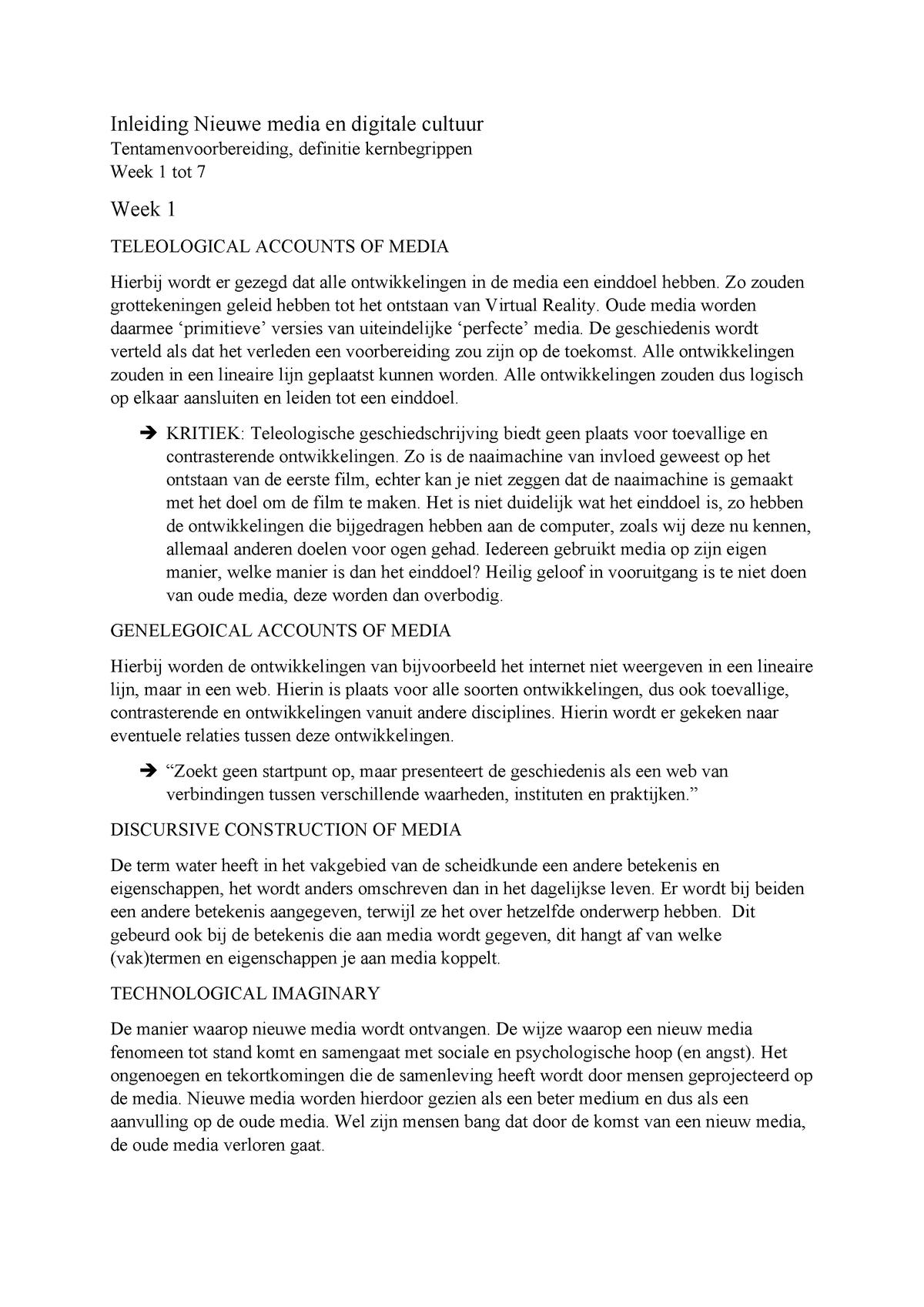 Definitie Kernbegrippen Week 1 Me2v15011 Studeersnel