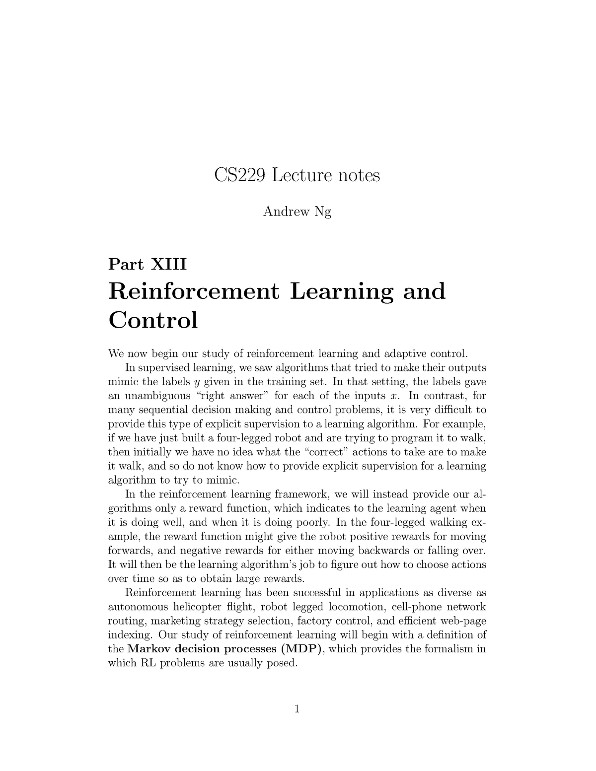 Cs229-notes 12 - Reinforcement Learning and Control notes