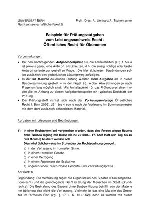 klausur 2015 3664 einfhrung in das ffentliche recht studocu - Offentliches Recht Beispiele
