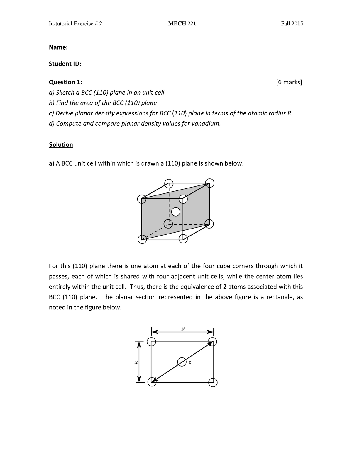 Practical - in-tutorial exercise # 2 - MECH 221: Materials Science