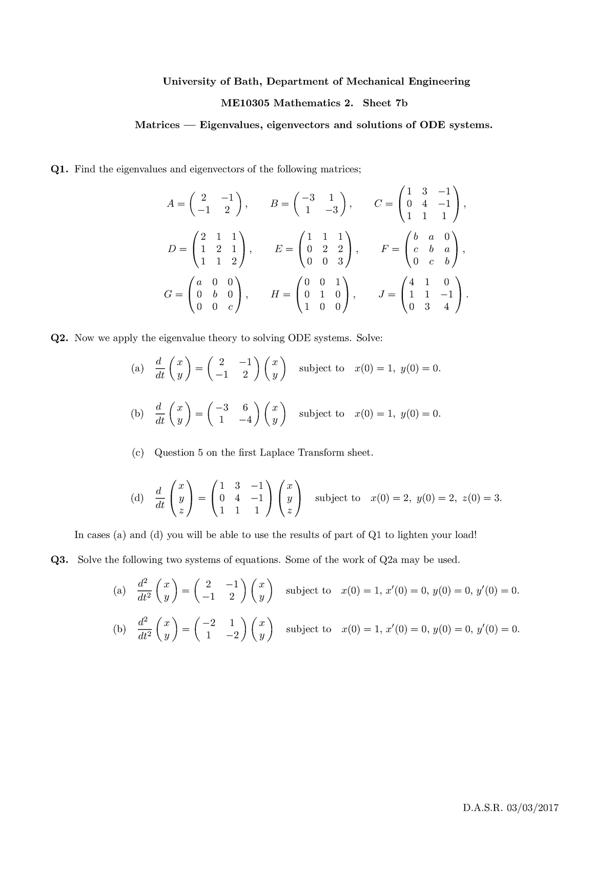 ME10305 2016-2017 Problem Sheet 7b - Eigenvalues