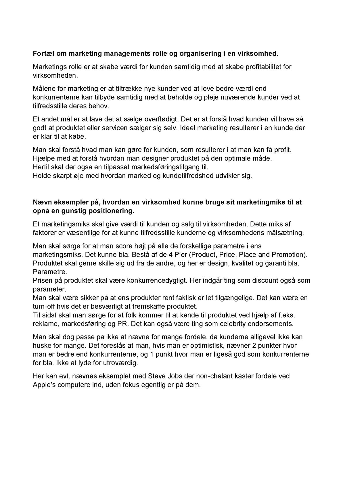 45394dffae2 Eksamen 2018 - :Marketing, økonomistyring og rapportering - StuDocu