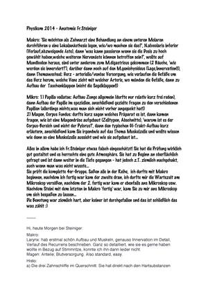 Zusammenfassung - Prüfungsprotokoll Anatomie Steiniger - Physikum ...