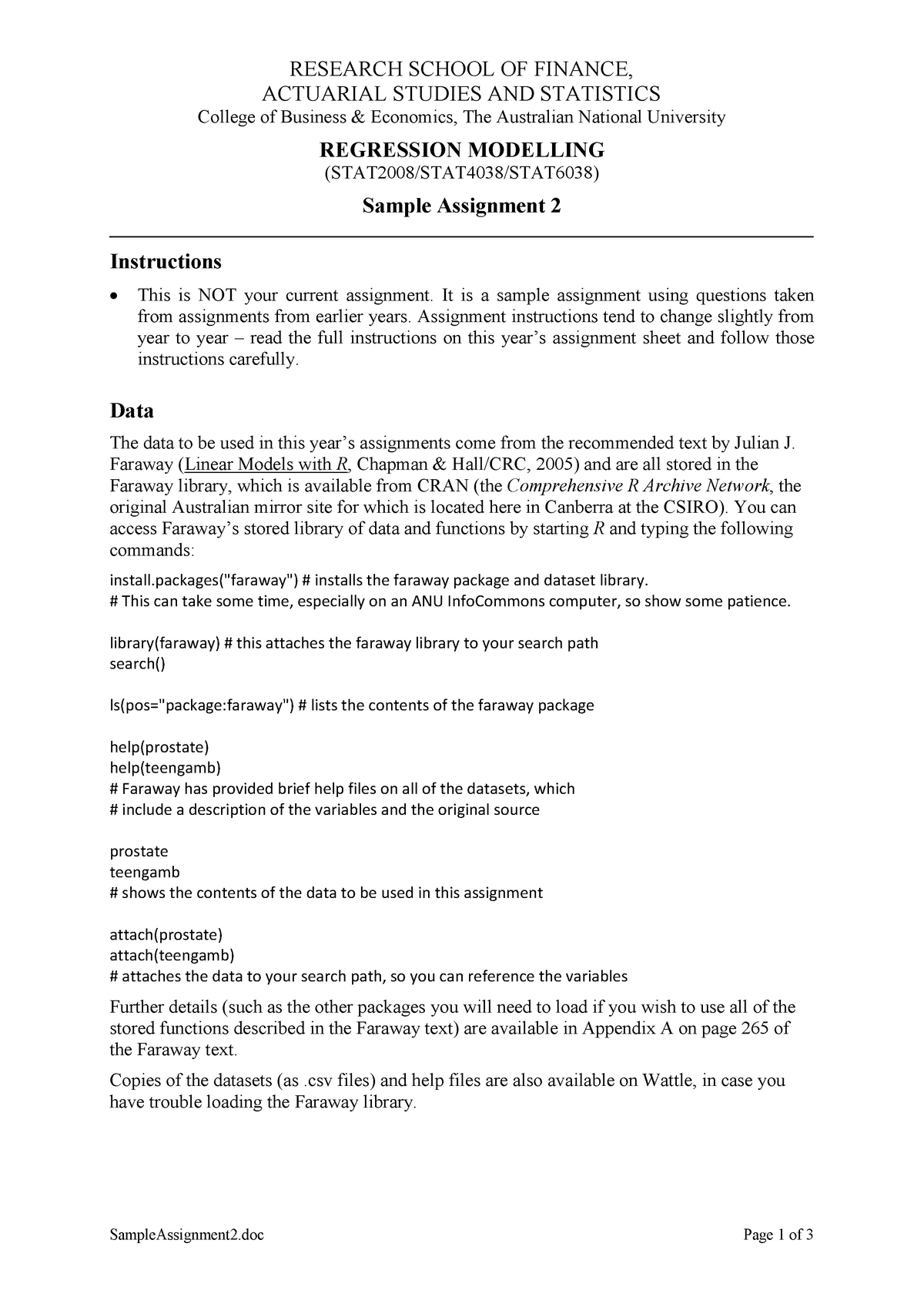 Sample Assignment 2 - STAT2008 Regression Modelling - ANU