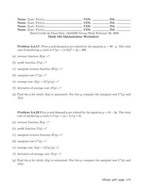 Math 165 Optimization Worksheet - MATH 165: Calculus For Business ...