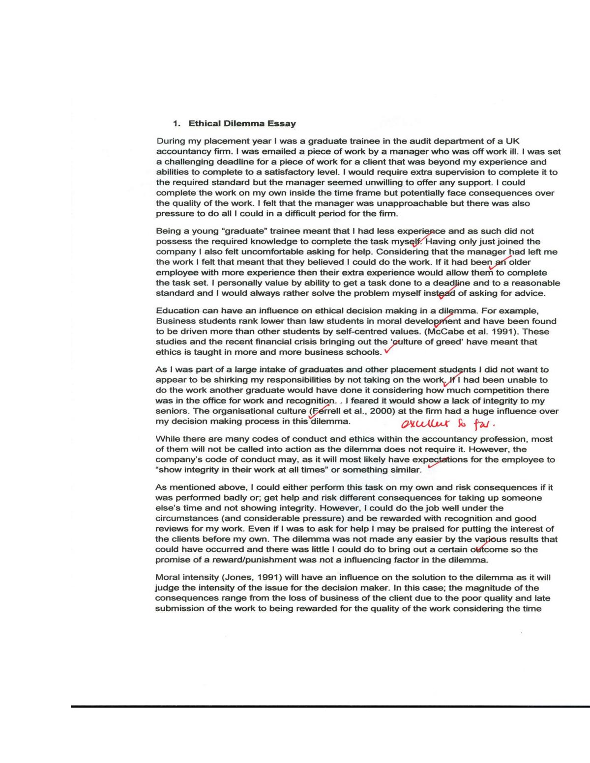 Essays - Ethical dilemma - Business Ethical - SM 0381 - SMU