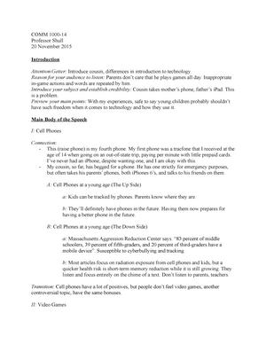 Persuasive Speech Keyword Outline Comm 1000 Csueb Studocu