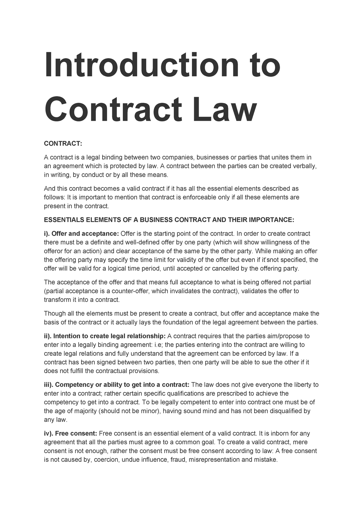 Elements of Valid Contract |authorSTREAM