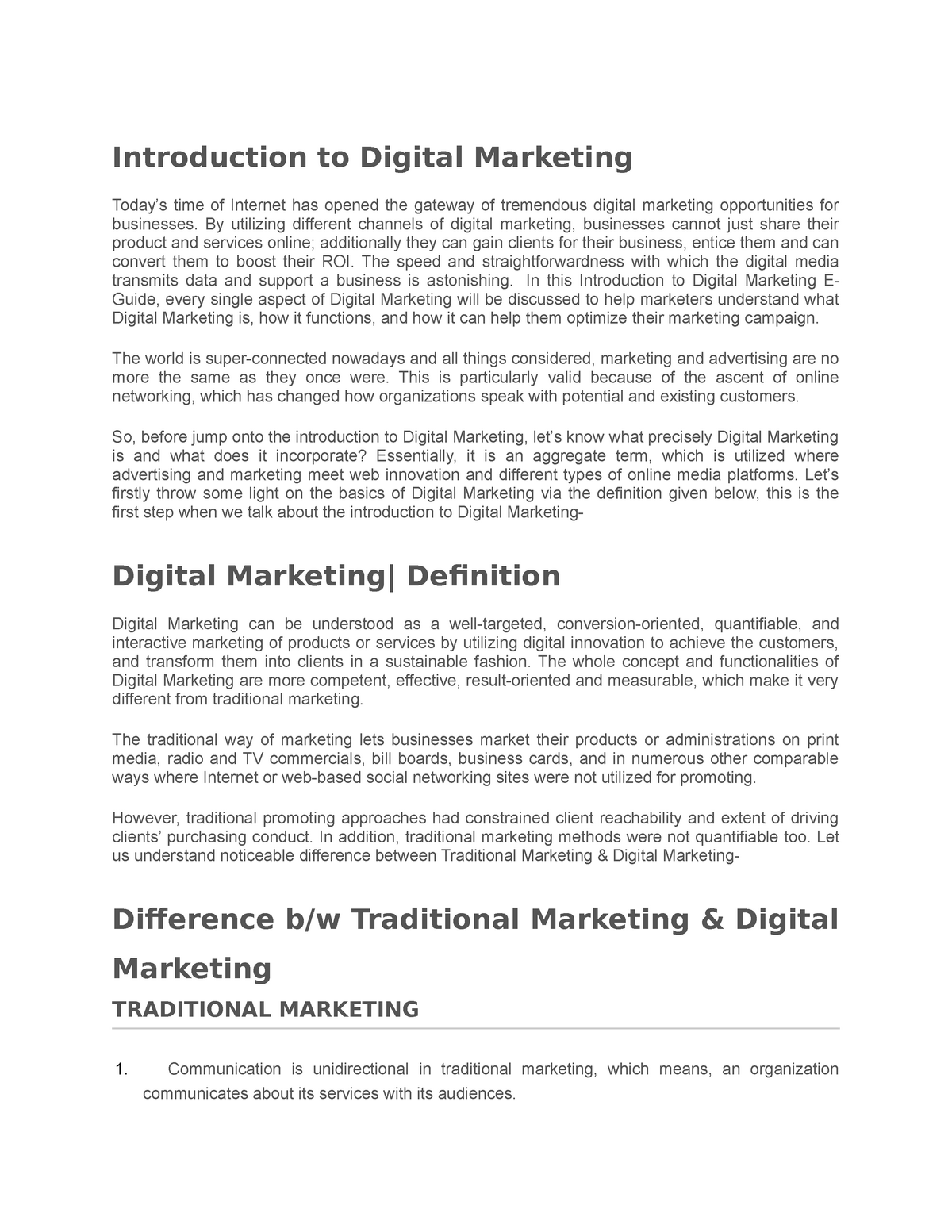 Introduction to Digital Marketing - MBA 2932 - StuDocu