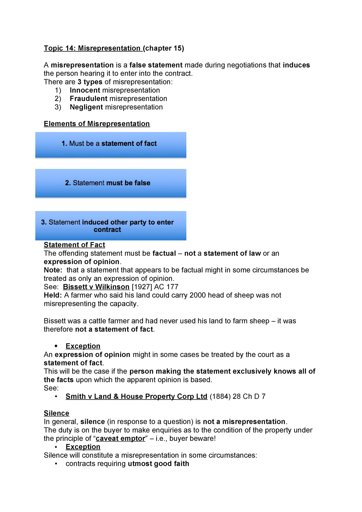 8 - Lecture notes and exam summary - BLO1105 Business law