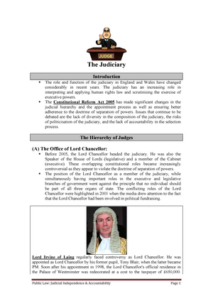 Handout - Judicial Independence and Accountability - LA1020: Public