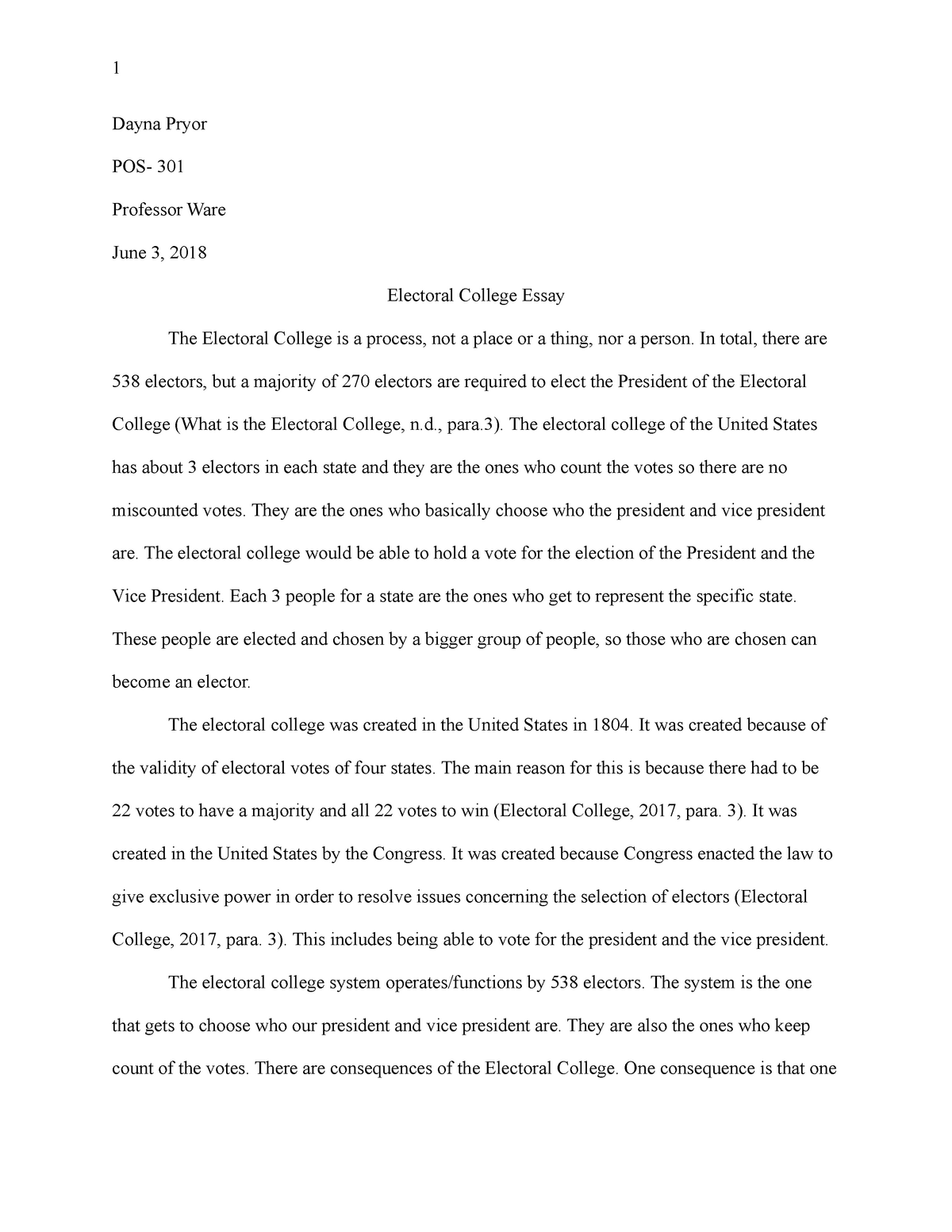 Electoral college essay pos 301 arizona and federal government