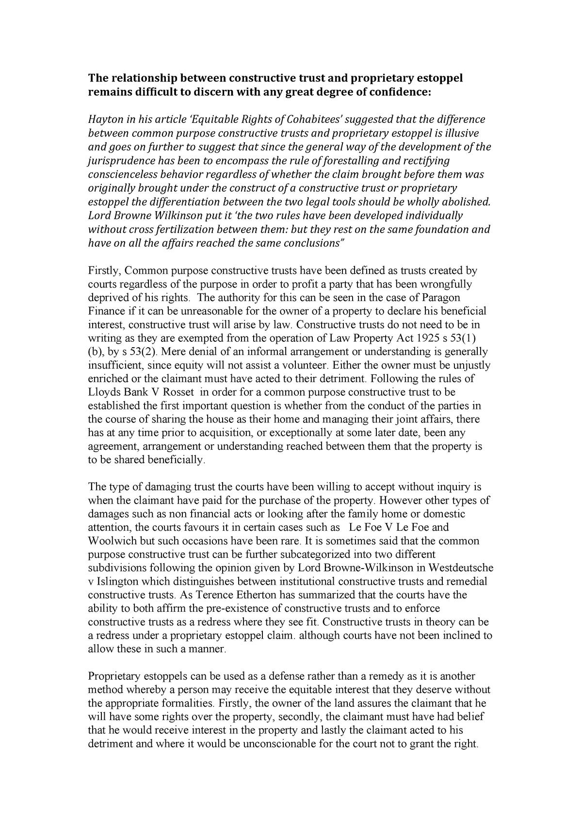 Properiatry estoppel and constructive trust essay - LA3003