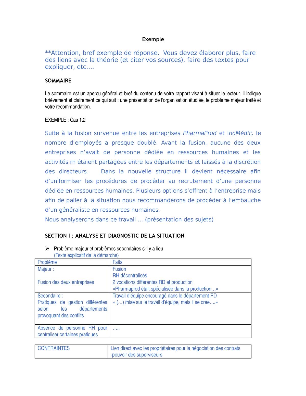 Exemple Pour étude De Cas 1 Orh1600 Uqam Studocu