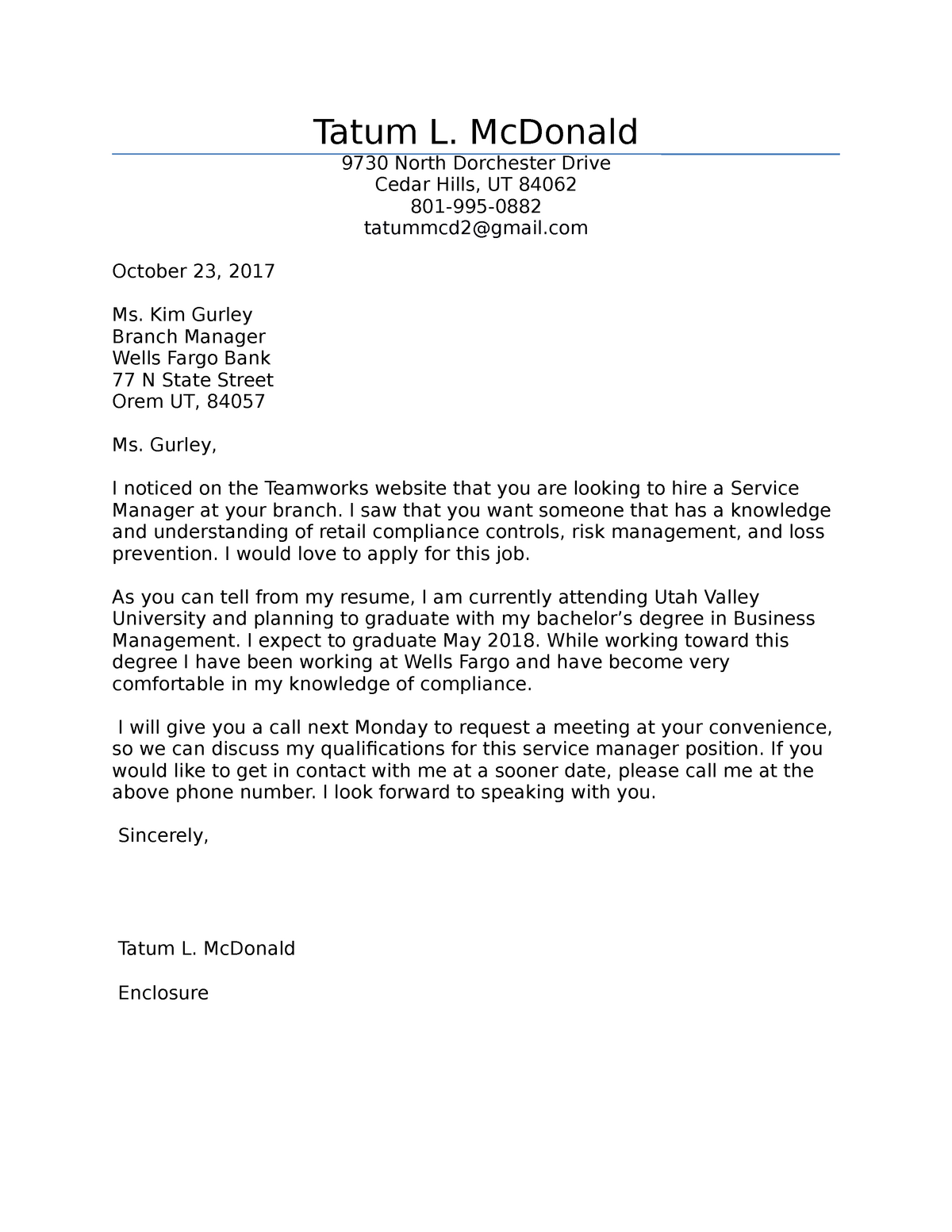 MKTG-Cover Letter - The professor I don't remember awesome class