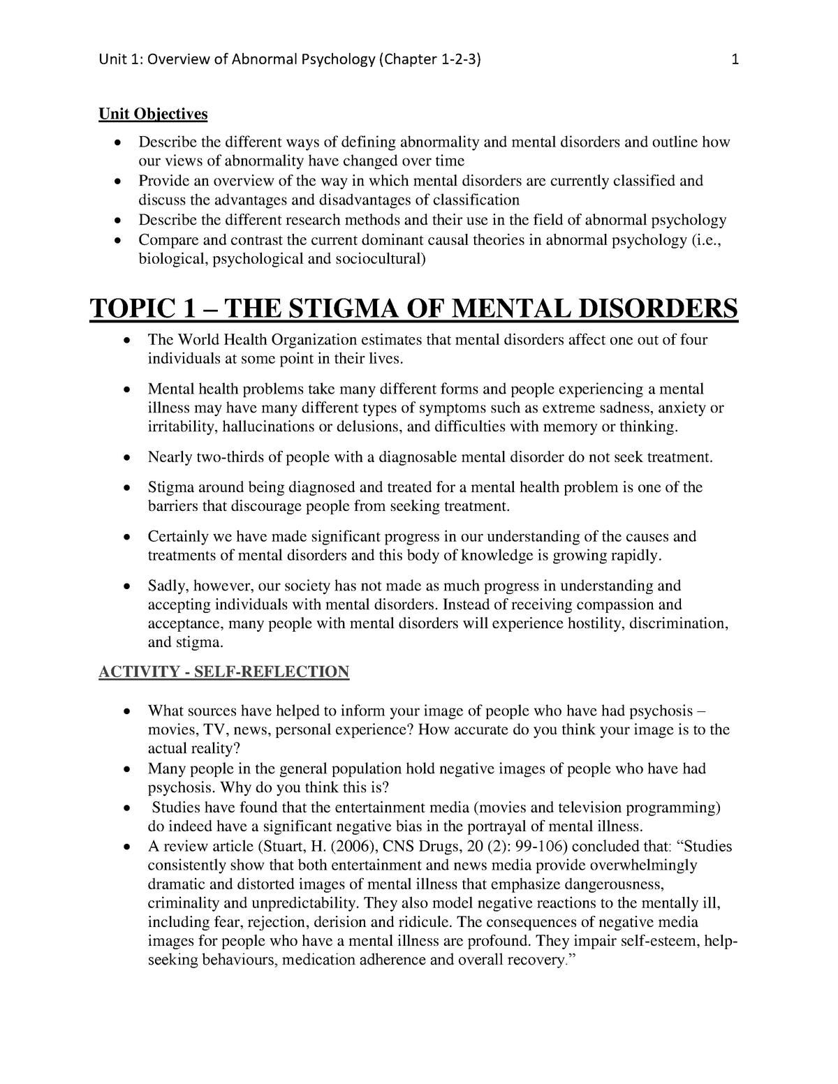 Summary Abnormal Psychology - Unit 1-4 - PSYC 300A - UBC